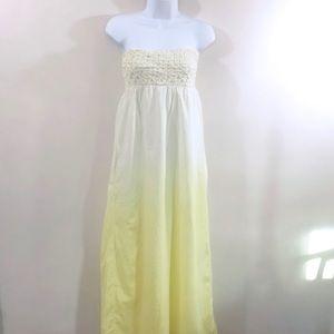 Billabong Strapless Yellow Ombré Maxi Dress